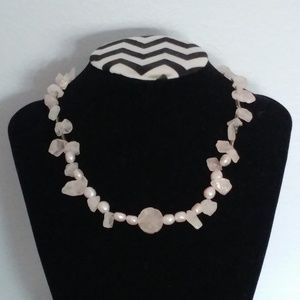 Rose Quartz Pink Pearl Carved Necklace